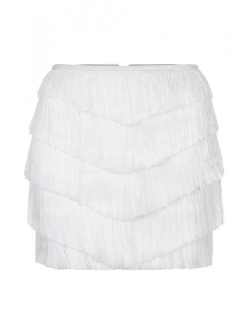 HEMERA Fringe white skirt