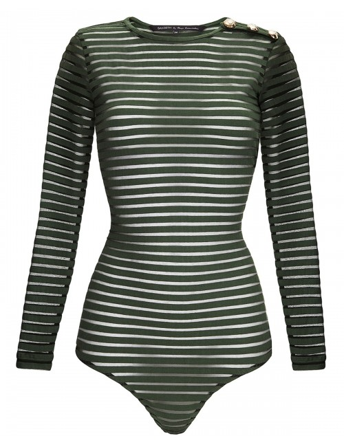 Transparent striped bodysuit GREN