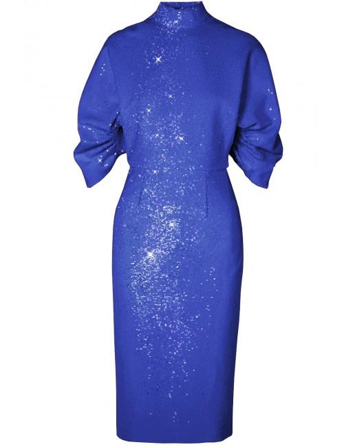 Kobaltowa sukienka z cekinów WHITNEY