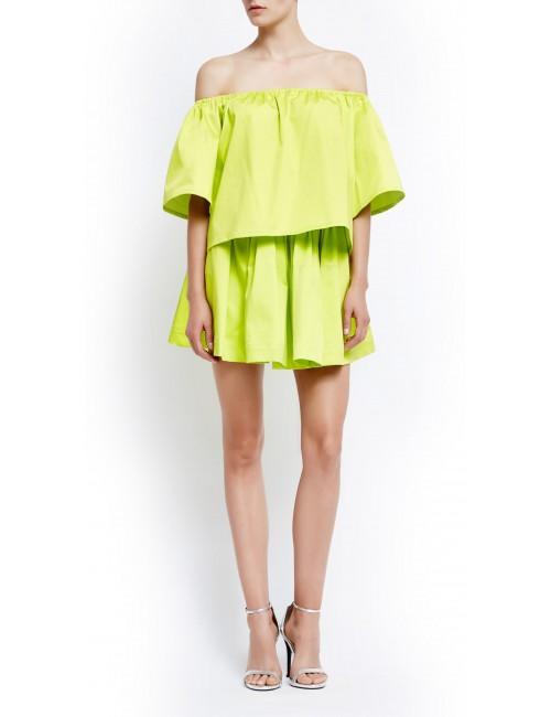 Lemon off-the-shoulder Capri blouse