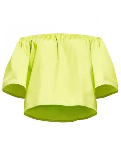 Jasno-zielona bluzka Capri z odkrytymi ramionami