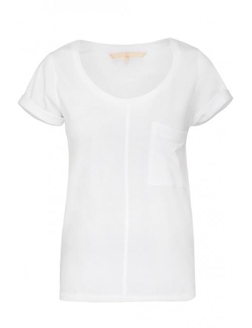 Klasyczny biały t-shirt z kieszonką POCKET