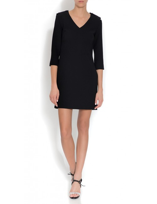 Black wool dress with leather epaulets CYNDI