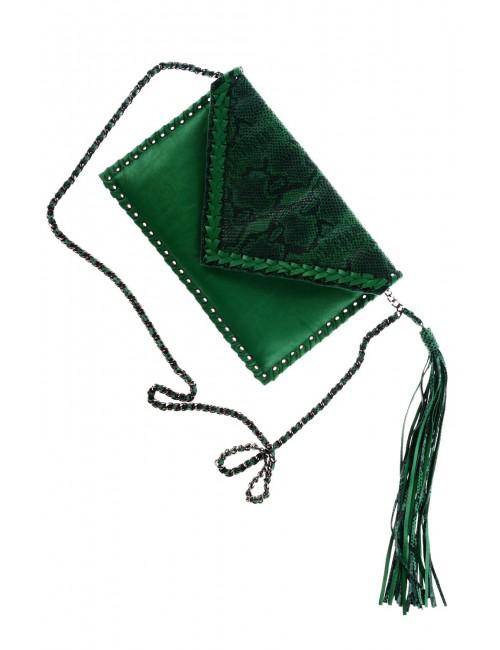 Zielona kopertówka z wężowym printem MALAYA
