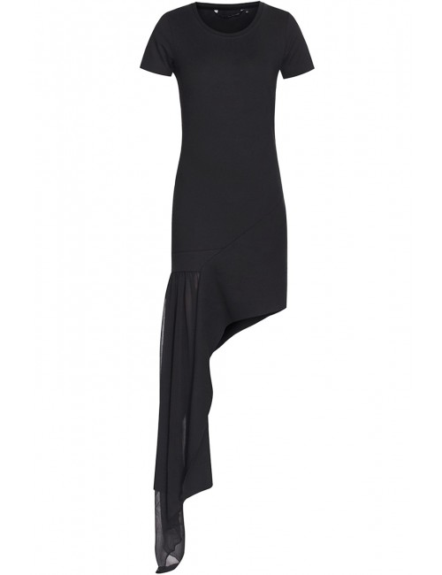 Asymmetric dress with chiffon panel ORIA BLACK