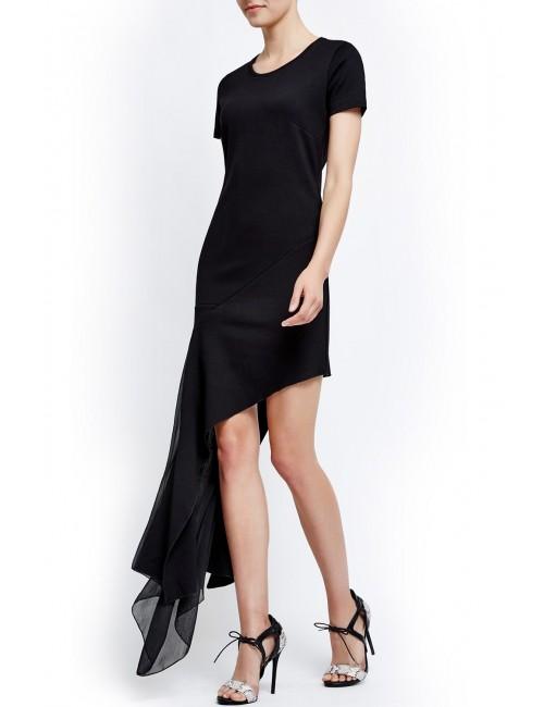Asymetryczna sukienka z szyfonowym dołem ORIA BLACK