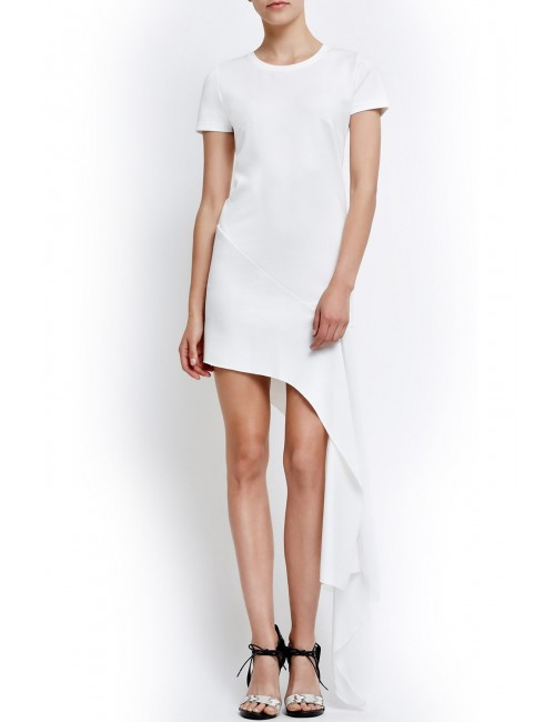Asymmetric dress with chiffon panel ORIA WHITE