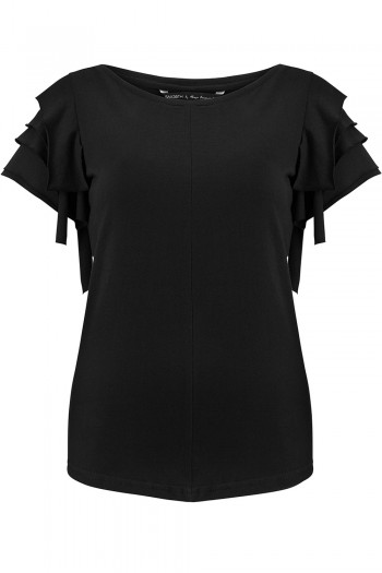 T-shirt z falbankami na rękawach NERO