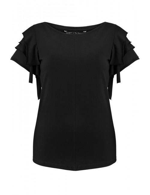 Black t-shirt with ruffled sleeves NERO