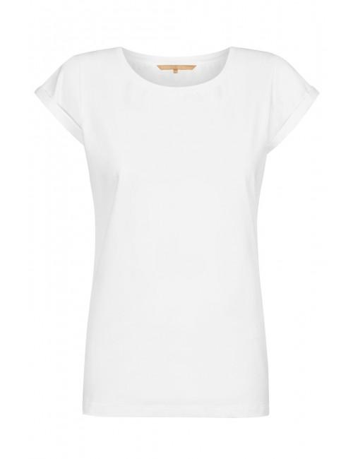 Biały t-shirt z podwiniętymi rękawami