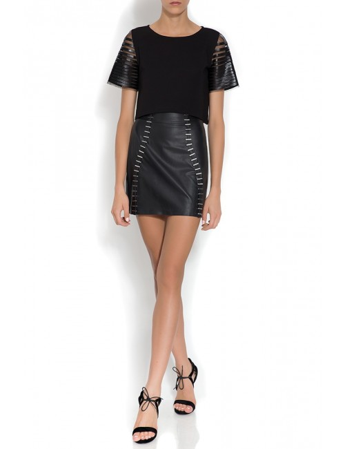 Leather mini skirt with metal applique  JOAN