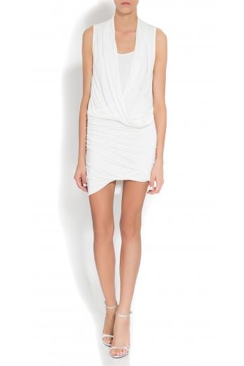 Draped cotton-blend TEINA dress