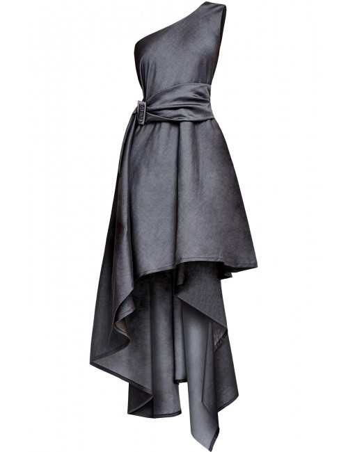 LARYSA one-shoulder grey tencel dress