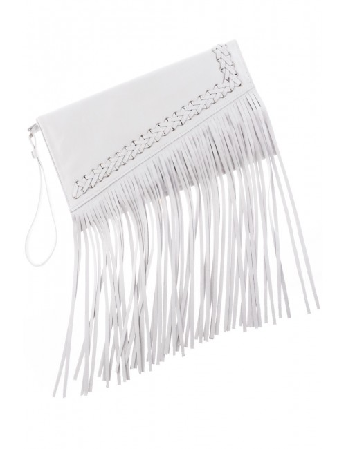 White leather clutch bag with fringe finishing LYRE