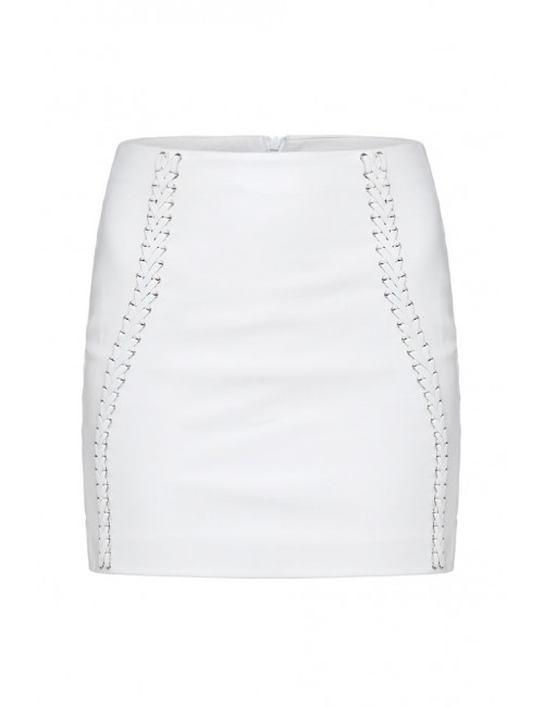 BARI White leather skirt