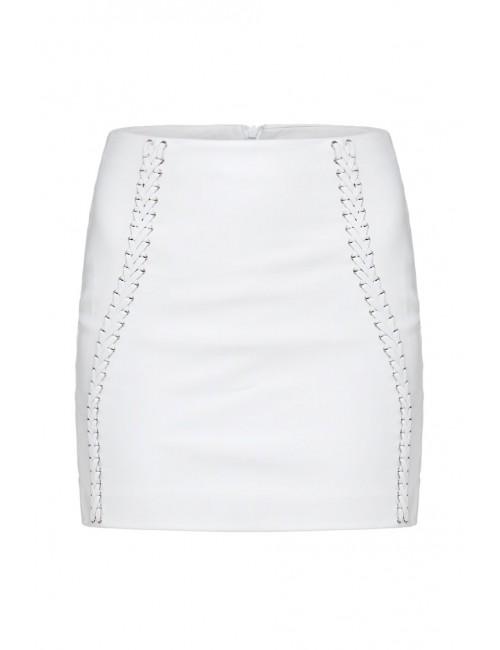 Spódnica z białej skóry BARI