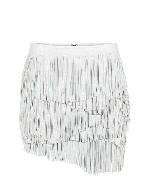 SELINE white leather fringe skirt