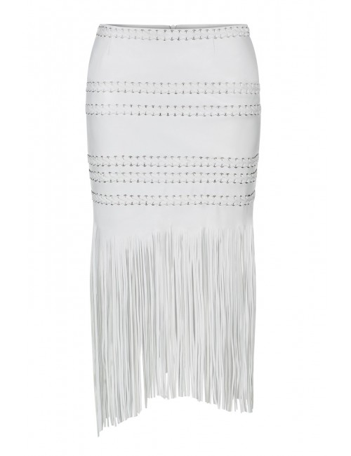 DEMIE white leather fringe skirt