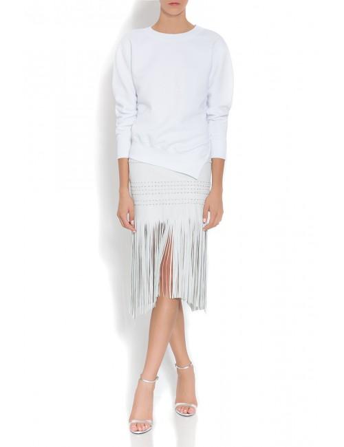 DEMIE white leather fringe skirt